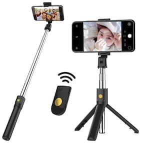 Capnicks Bluetooth Extendable Selfie Stick with Wireless Remote and Tripod Stand Feature For All Smart Phones
