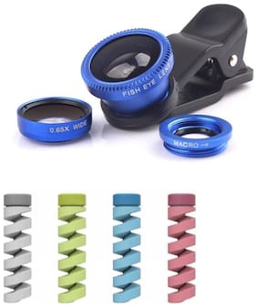 Captcha 3 in 1 Mobile Cameralens Kit With Flexible Silicone Spiral USB Cord Protector (Multi)