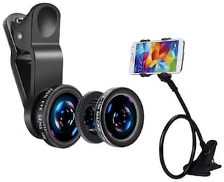 Captcha 3 in 1 Mobile Cameralens Kit With Snake Style Long Lazy Phone Holder Stand (Multi)