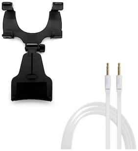 Captcha 360 Degree Rotation Car Holder/Stand With Flat AUX Stereo 3.5mm Music Transfer Cable for Mobiles and Speakers Other Combos Multi