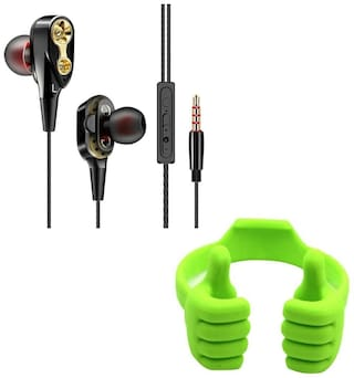Captcha 4D Double Moving Coil Noise Cancelling Earbuds in Ear Sports Headphones with Inbuilt Microphone With OK Thumbs Up Mobile Phone Tablet Holder with Multi-angle (Multi)