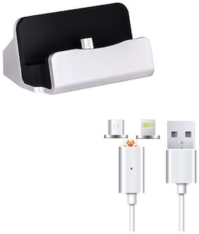Captcha Micro USB Dock Charger Cradle Docking Station for Charge and Sync Data With Magnetic 2In1 Lightning to Micro USB Sync Aluminum Connector Charging Cable