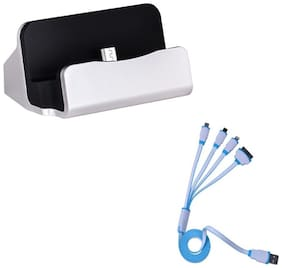 Captcha Micro USB Dock Charger Cradle Docking Station for Charge and Sync Data With 4 in 1 Usb cable with 4 charging leads to cover all phones with just 1 lead