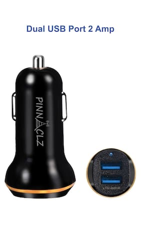 Car Charger Dual USB 2 Amp Pinnaclz (Black)