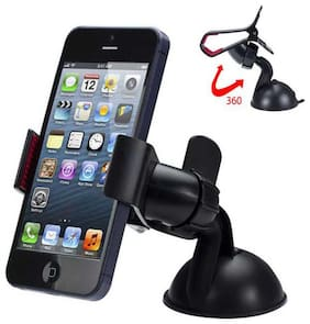 Car Mobile Holder Single Clamp 360 Degree Rotation for Dashboard & Windshield - Black (Pack of 1)