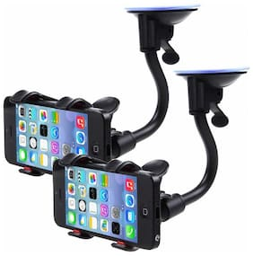 Car Phone Mount Dashboard Cell Mobile Phone Holder Pack Of 2 (Black)