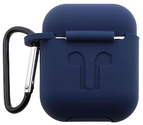 CellFAther Silicone Protective Case Cover for Apple Airpod with Key Ring (Navy Blue)