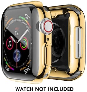 CellFAther Compatible Apple Watch Case Series 4, Full Front Plated Soft TPU All-Around Screen Protectors Shockproof Slim Bumper Smartwatch Iwatch Cover for Apple Watch Series4 (Gold, 40mm)
