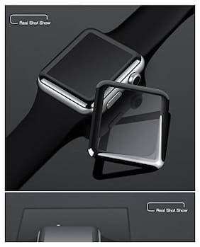 Cellfather iWatch Full Glue Screen Protector 38mm, [3D Full Coverage] [Anti-Scratch] [High Definition] Tempered Glass Screen Protector for Apple Watch 38mm Series 3/2/1 (Black)