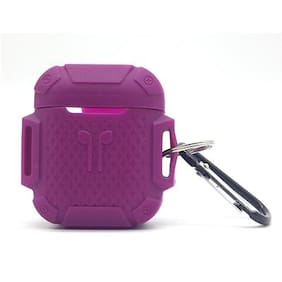 Cellfather  Silicon Shockproof Protective Case Cover/Pouches for Apple Airpods with Key Ring (Fastening Straps::Purple)