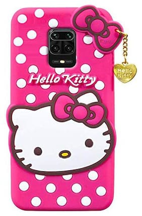 CELLSHOP Cute Hello Kitty Case  Soft Silicone Rubber Back Cover with Pendant Kitty Cover for Redmi Note 9 Pro Max