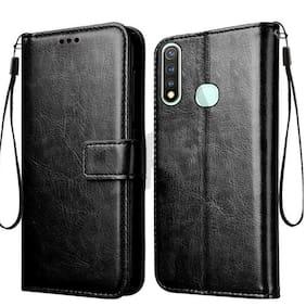 Vivo Y19 Faux Leather Flip Cover By Cellshop ( Black )