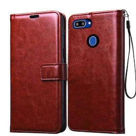 Cellshop Leather Finish TPU Wallet Stand Magnetic Closure Full Flip Cover for Oppo A5s / Oppo A12 / A11K / Oppo F9 Pro/Oppo A7 Brown