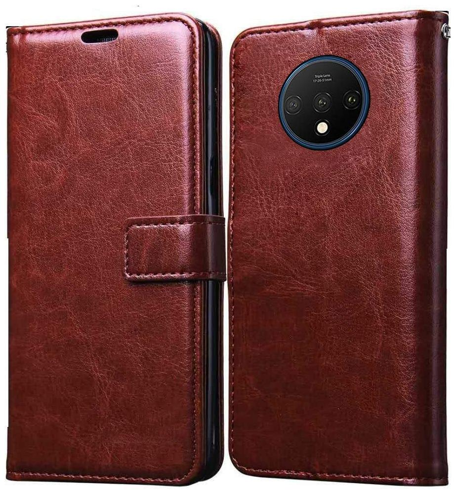 Cellshop Faux Leather Flip Cover For OnePlus 7T Pro   Brown