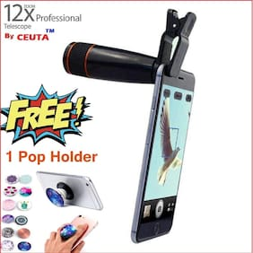 Ceuta , 12X Optical Zoom Telescope Lens + Pop Holder Free for Mobile Camera with Adjustable Clip for Android & iOS Devices