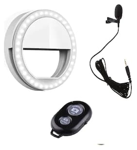 CHG Combo 3 in 1 Selfie Selfie Ring Light with 3 Modes and 36 LED  ,Collar MIC for Voice Recording and Wireless Selfie Bluetooth for Selfie Click