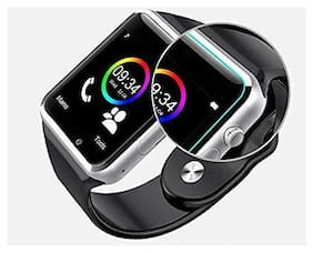 CHG Combo of Bluetooth Smart Watch with Camera, SIM and Memory Card Slot - A1 (Silver) + Wireless Magnetic Earphone-02