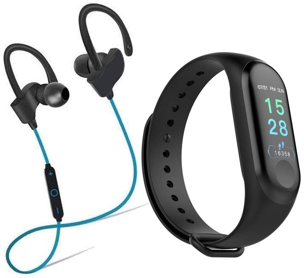 CHG M3 Smart Band Fitness Tracker Watch with QC 10 Bluetooth Earphone Wireless Headphones for Mobile Phone  Blue