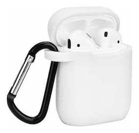 TSV Silicone Shock Proof Protection Sleeve Skin Carrying Box with Hook for Airpods (Airpod Not Include) White