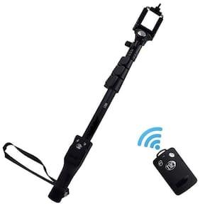 CHG YT 1288 Aluminium Alloy Extendable Selfie Stick with Bluetooth Remote Shutter Black)