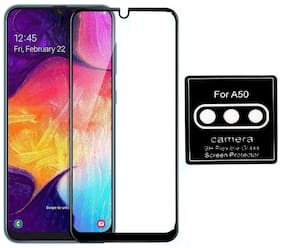 CHL Full Edge to Edge Tempered Glass Screen Protector for Samsung Galaxy A50s (Black) + FREE Back Camera Lens Protector Flexible