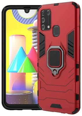 CHL Shock Proof Armor Kickstand Back Case Cover with Ring Holder For Samsung Galaxy M31 (Red)