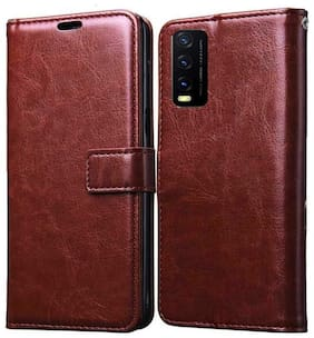 CHL Faux Leather Flip Cover For Vivo Y20 ( Brown )