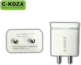 C-KOZA CK-200 2.1 A Fast Charging Wall Charger - 2 USB Ports With Micro USB Cable