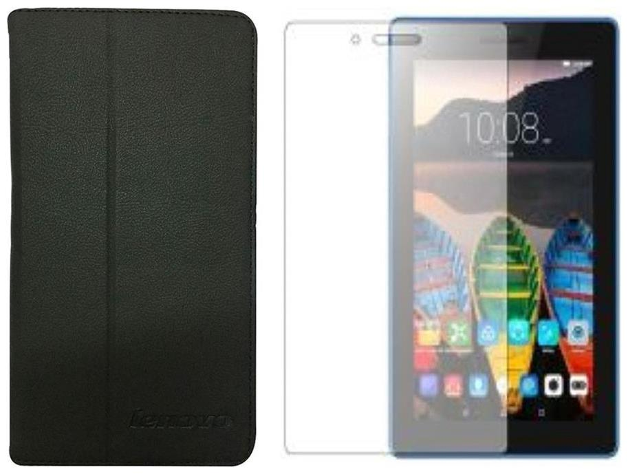 Colorcase Combo Set of Flip Cover with Tempered Glass for Lenovo Tab 3 Essential  7.0