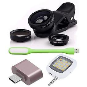 Combo 4 IN 1 : Universal Mobile Camera Lens Kit + little OTG Adapter + USB LED Light and Selfie LED Flash Light