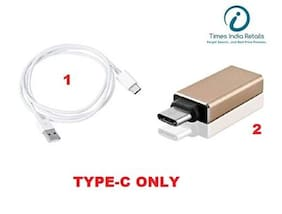 Combo Deal :Type C USB Data Cable (White) + Metal Type C USB OTG Adaptor