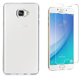 Combo Of Bodoma Back Cover and Tempered Glass For Samsung galaxy C7 Pro (Transparent)
