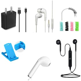 Combo Of Data cable, Cable Protector, Mobile Stand Get With Hand free, Magnetic Bluetooth And i7 Ear Bluetooth Free