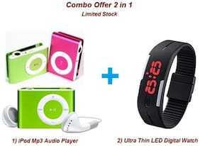 Combo of Ultra Thin Digital LED Fashion Watch & iPod Style Mini MP3 Music Player