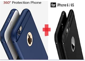 EMARTOS Silicone Back Cover For Apple iPhone 6 & Apple iPhone 6s ( Black & Blue )