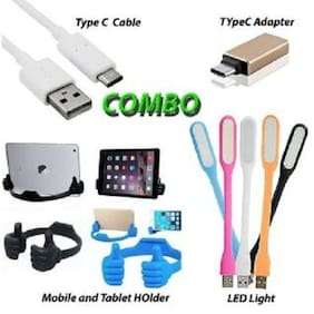 COMBO with 1 Type C OTG Adapter+1 Type C Data Cable+1 Mobile Holder+1 USB LED Light