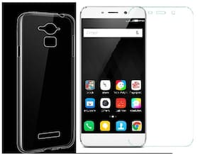 Coolpad note3 transparent back cover with tempered glass (crystal clar soft case)