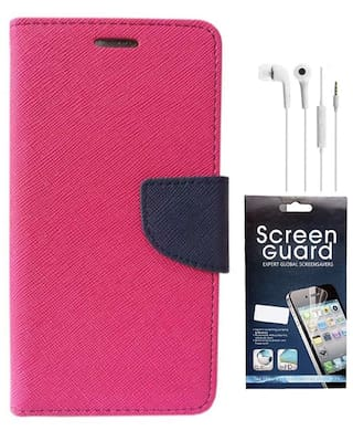 official photos d947c fec82 Coverage Flip Cover For Asus ZenFone C (Pink & Blue) With Screen Protector  & Hands Free