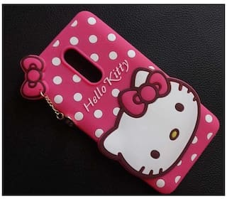 new product 777bc af233 Creativo Cute Hello Kitty Silicone Mobile Phone Back Cover Case For Lenovo  K8 Plus Pink
