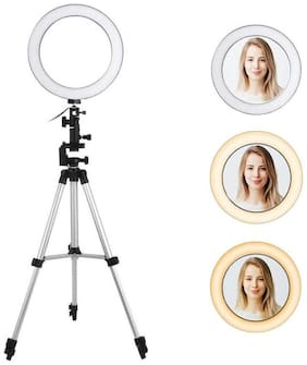 """Crystal Digital Selfie Ring Light with 3110 Tripod Stand & Flexible Phone Holder for Live Stream/Makeup Tiktok Musically and Other Phone's App with 3 Mode Light """