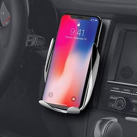 Crystal Digital Automatic Wireless Car Charger Mount Fast Wireless Charging 360° Air Vent Car Phone Holder for IOS Android All Qi-Enabled Phone