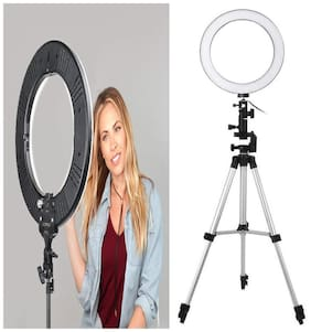 Crystal Digital LED Ring Light with 3110 Tripod & Phone Holder for Live Streaming & Tik Tok,YouTube Video, Dimmable Desk Makeup Ring Light