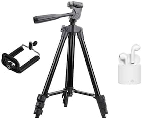 Crystal Digital 3120 Inch Screw Mount Professional Camera Tripod Aluminum Stand With I7S TWS Headphone Twins Bluetooth Headset