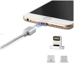Crystal Digital Magnetic Charging Multi Cable ( 1 mtr , Silver )
