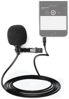 Crystal Digial Mini Clip Collar Microphone with 3.5 mm Jack for All iOS/Android Devices - Black
