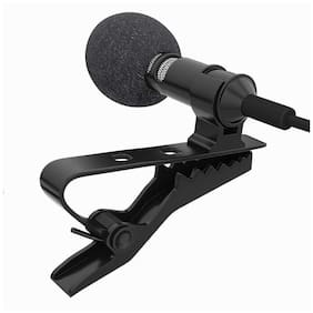 Crystal Digital Black Mini Lavalier Collar Mic Microphone for Voice Chat, Video Conferencing & Recording