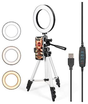 Crystal Digital LED Selfie Ring Light with 3110 tripod for Live Stream/Makeup/YouTube Video, Dimmable Beauty Ringlight & Cell Phone Holder