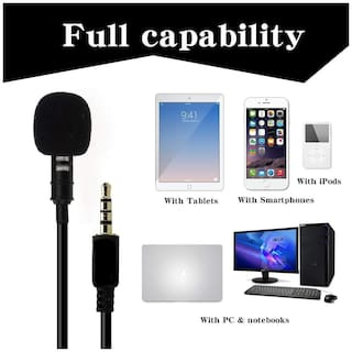 Crystal Digital 3.5mm Clip Microphone for YouTube Collar Mic Voice Recording Lapel Mic Make Videos