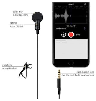 Crystal Digital Premium Quality 3.5mm Jack Clip Mic,Collar Mic for Voice Recording, Lapel Mic Mobile, Pc, Laptops, Smartphones & DSLR Camera