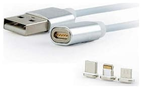 TSV Magnetic Charging Multi Cable ( 1 mtr , Silver )